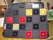 1960s Crown Lewis Vintage Carpet Handbag Black Checkerboard Design