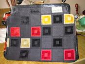 1960s Crown Lewis Vintage Carpet Handbag Black Checkerboard Design