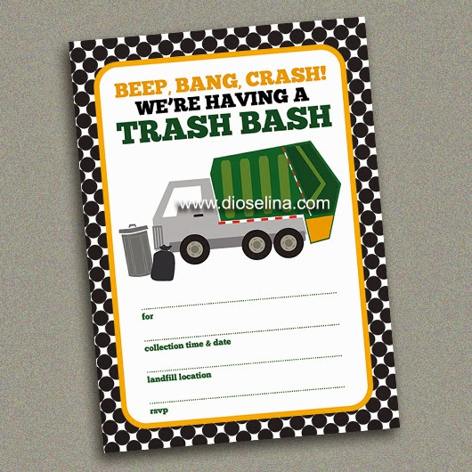 Trash Bash fill in the blank invitations