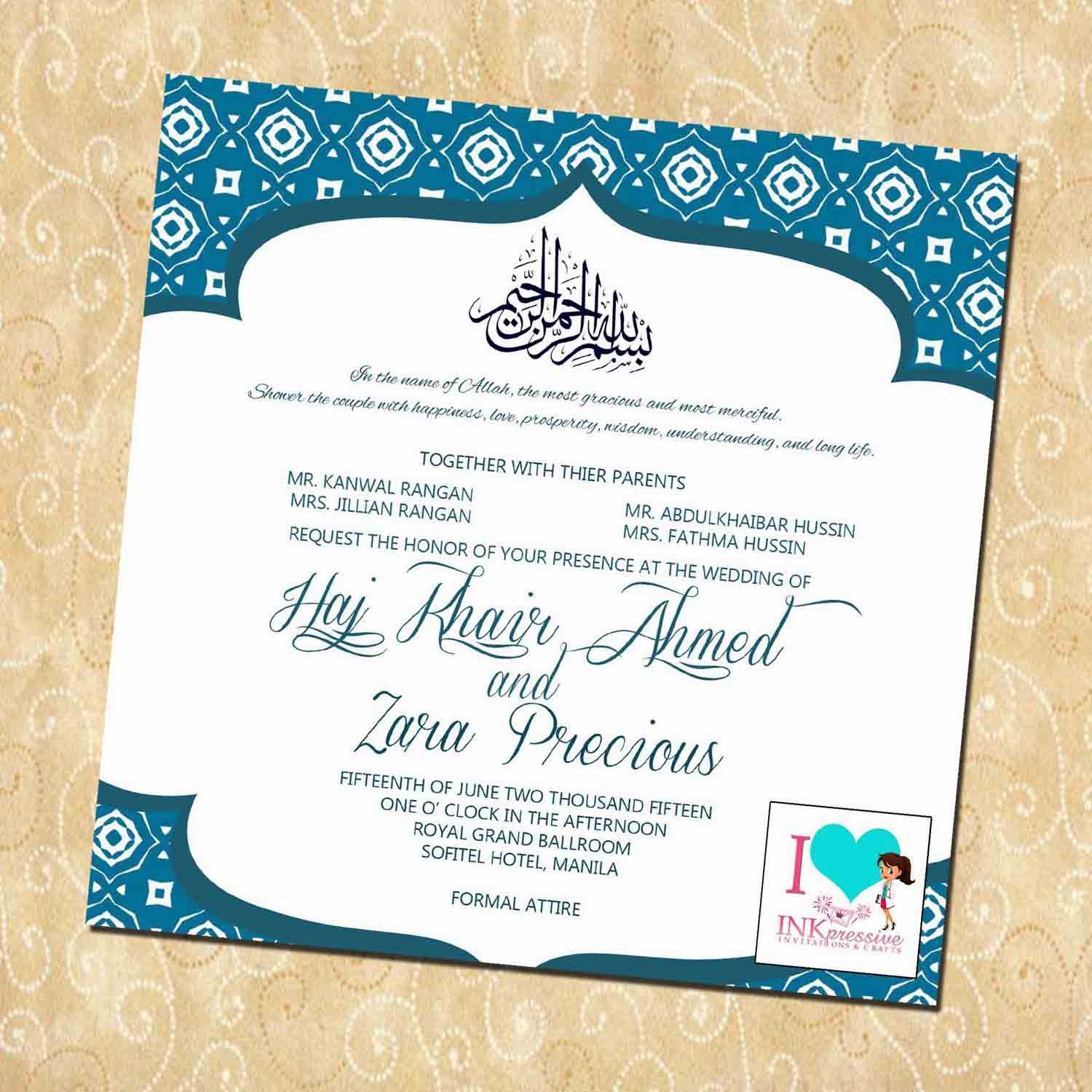 muslim wedding invitation zara emerald muslim wedding invitation ...