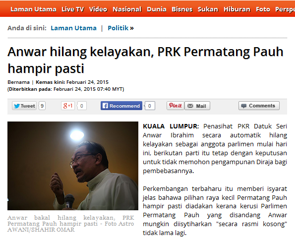 Anwar hilang kelayakan PRK Permatang Pauh hampir pasti