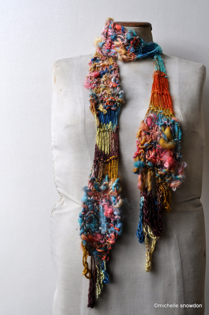 Ebb and Flow handspun journey-thread scarf