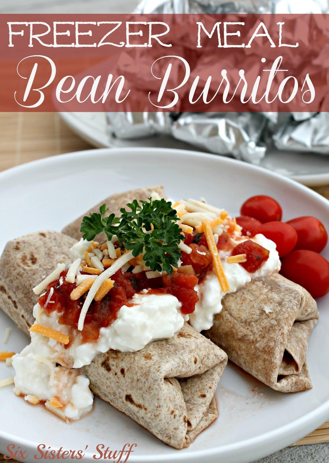 Freezer Meal Slow Cooker Bean Burritos | Six Sisters' Stuff