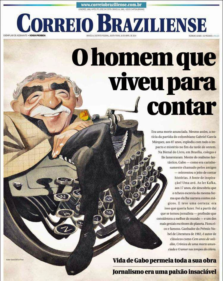 Fallece Gabriel García Márquez, Correio Braziliense