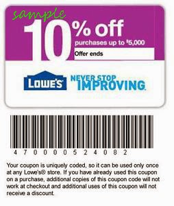 Home improvement discount coupons