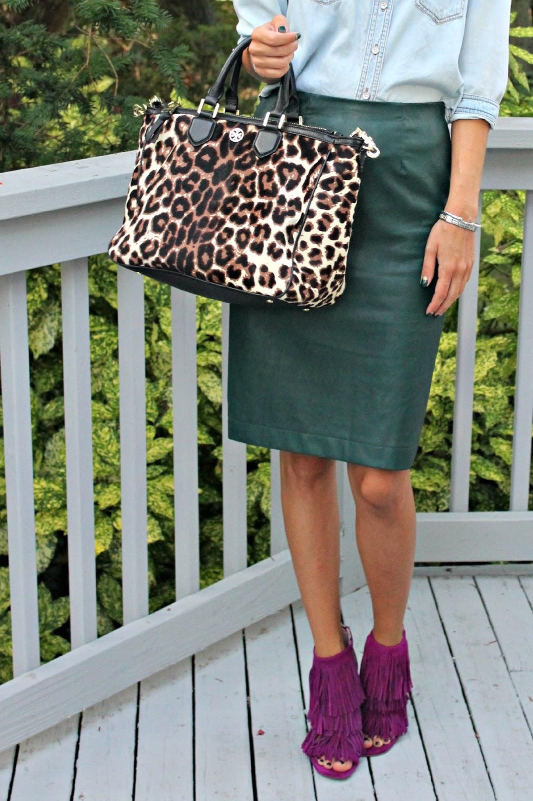 ann taylor green leather skirt