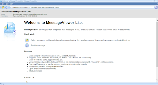 Image shows main screen of MessageViewer Lite .eml .msg file viewer