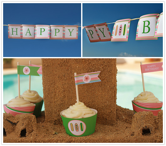 surf pool party banner and straw flags on cupcakes