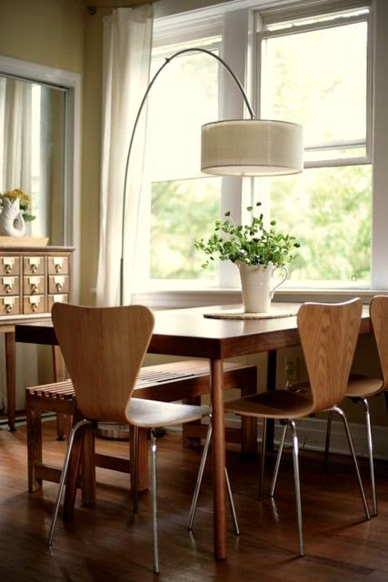 modern dining room with floor lamp