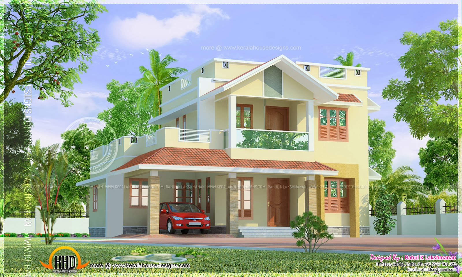 Cute little two storied home design kerala home design for Design small house pictures