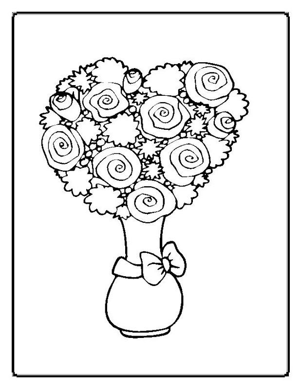 mazzo di fiori da colorare title=
