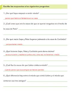 Respuestas Apoyo Primaria Español 2do grado Bloque 4 lección 17 Sapo tiene miedo