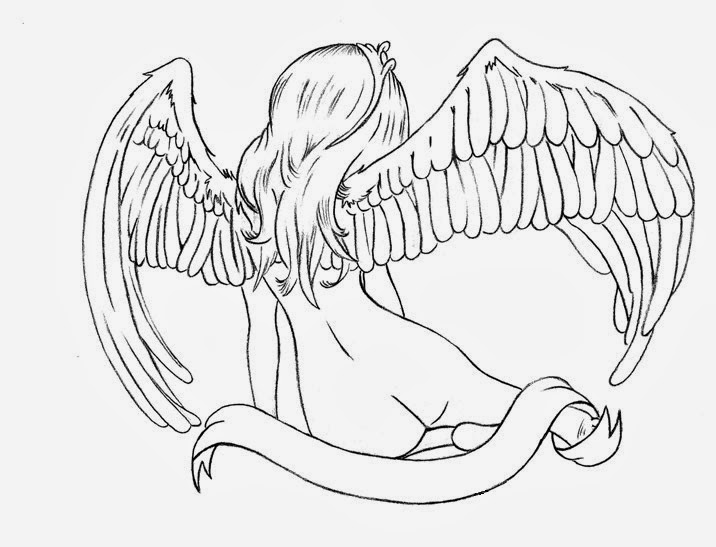 Angel girl nude tattoo stencil