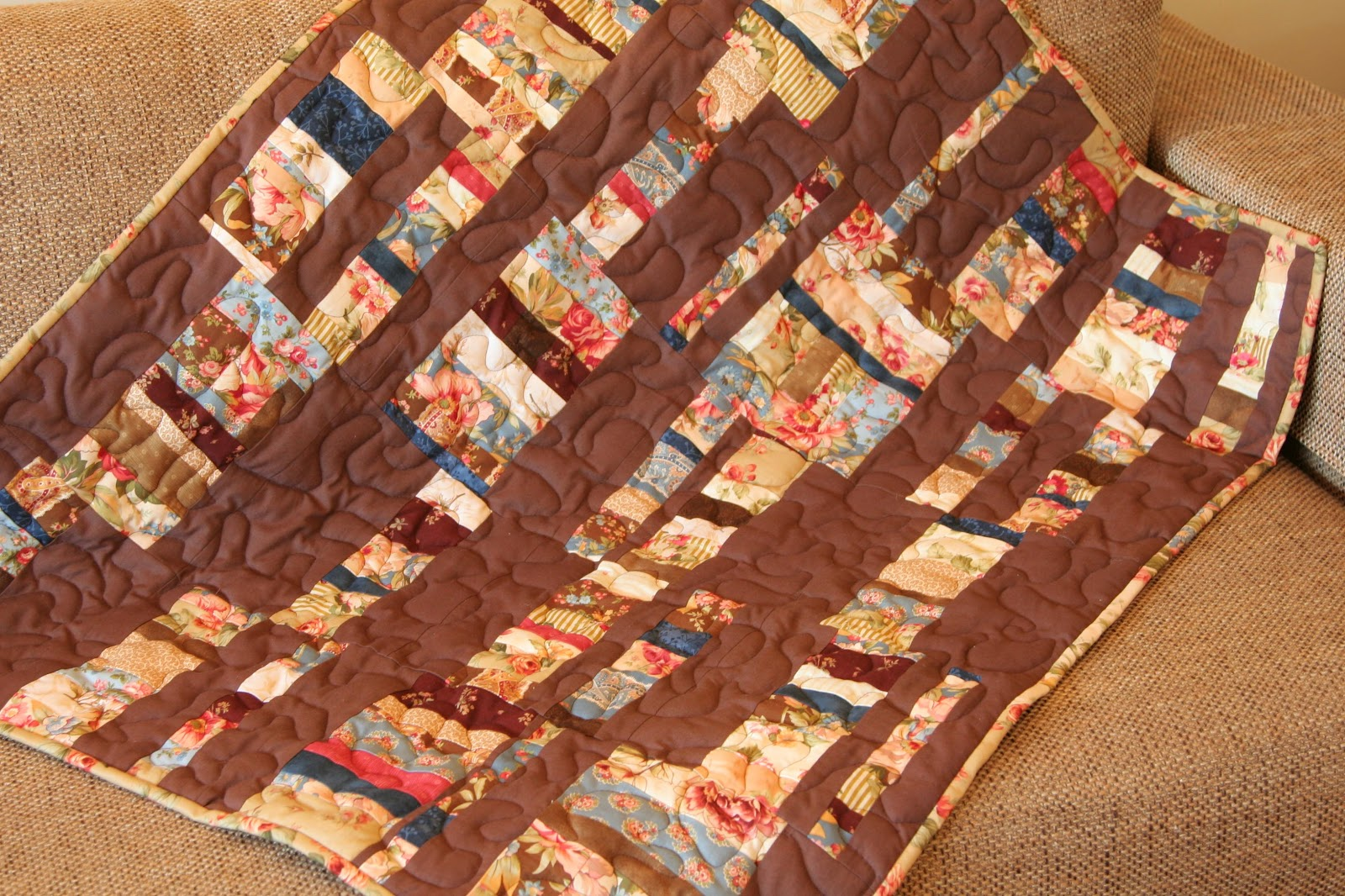 One Little Imp Strip Quilt With Free Motion Quilting