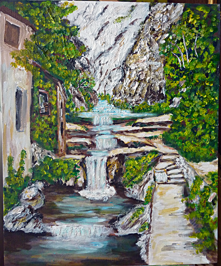 Art de vivre la peinture de peintrefiguratif peinture acrylique paysage la cascade de moustiers for Peindre une baignoire en acrylique