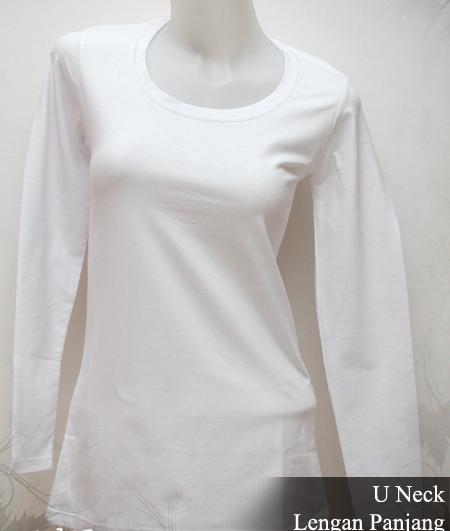 Kaos Putih Polos Desain Lengan Panjang Wanita Gambar