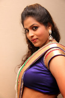 Hemalatha Spicy White Saree abd Purple Blouse at Birthday Party