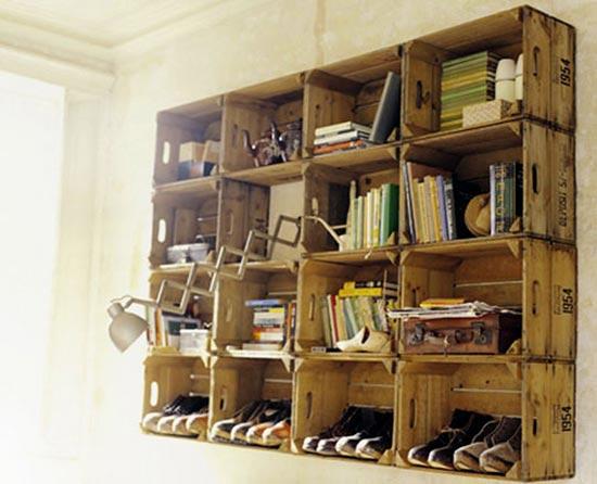 Esp ritu chamarilero estanter as con cajas de madera - Como hacer estanterias de madera ...
