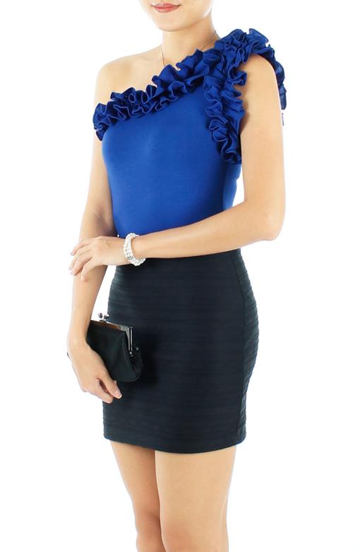 Royal Blue Duchess Ruffle One Shoulder Top
