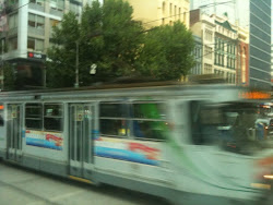 Trams in downtown Melbourne