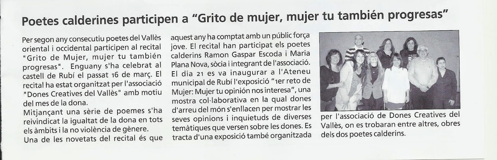 Noticia en la Revista Tot Caldes de Montbui