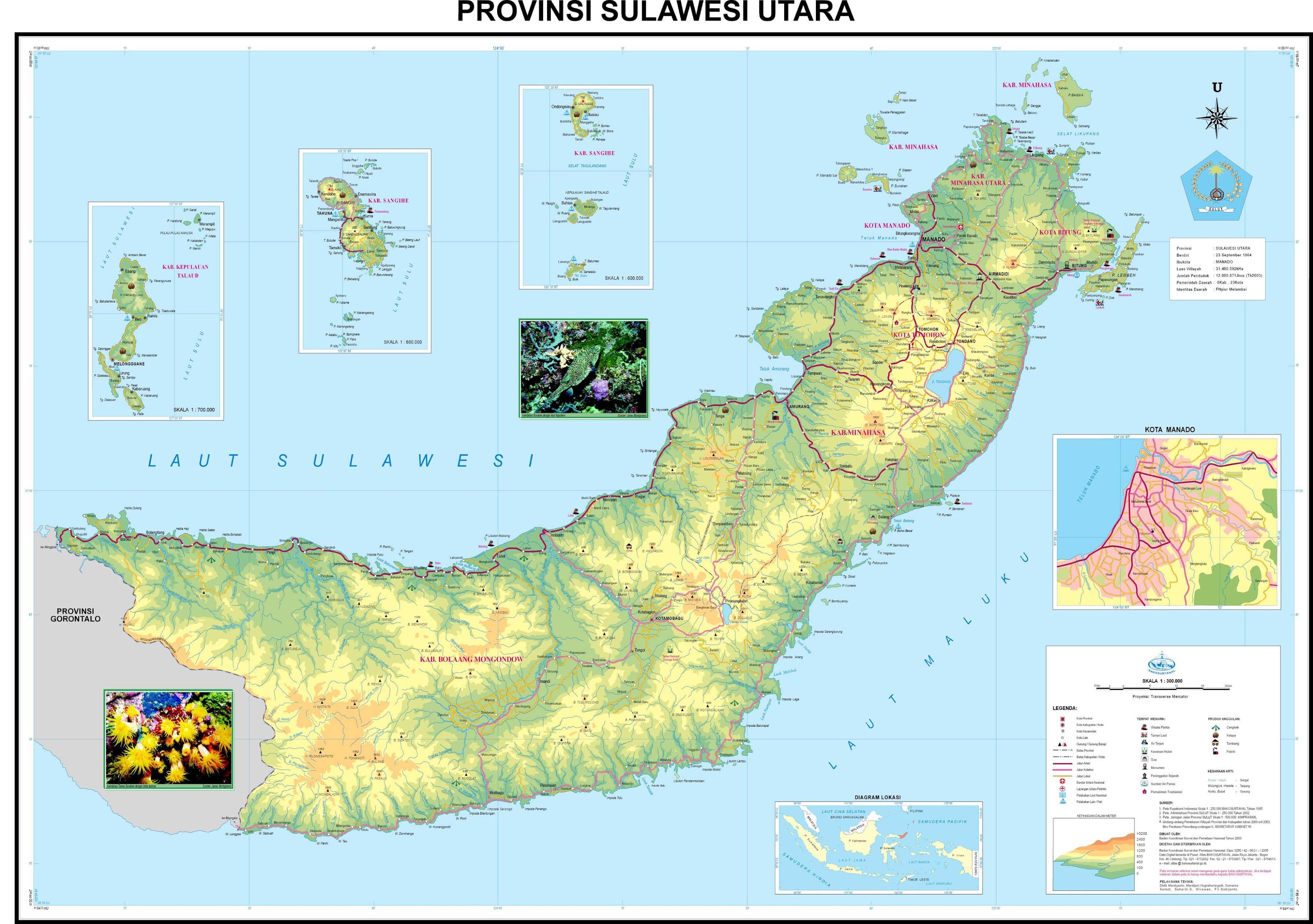 peta kota peta provinsi sulawesi utara