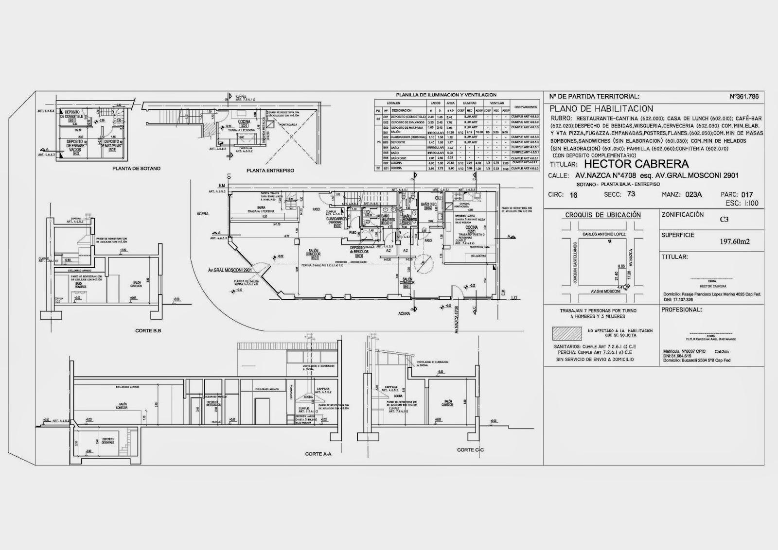 Ultra arquitectura plano de habilitacion comercial for Planos para restaurantes