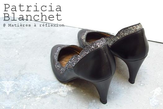 Escarpins cuir noir/pailleté Patricia Blanchet chaussures Bidiboule