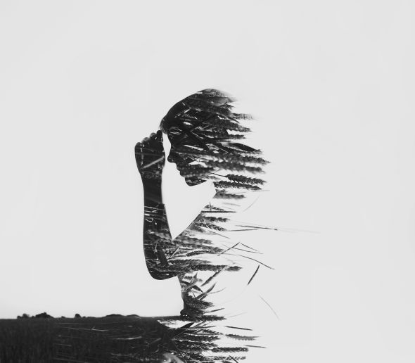 Alexandra Cameron black and white photography double exposure people silhouette