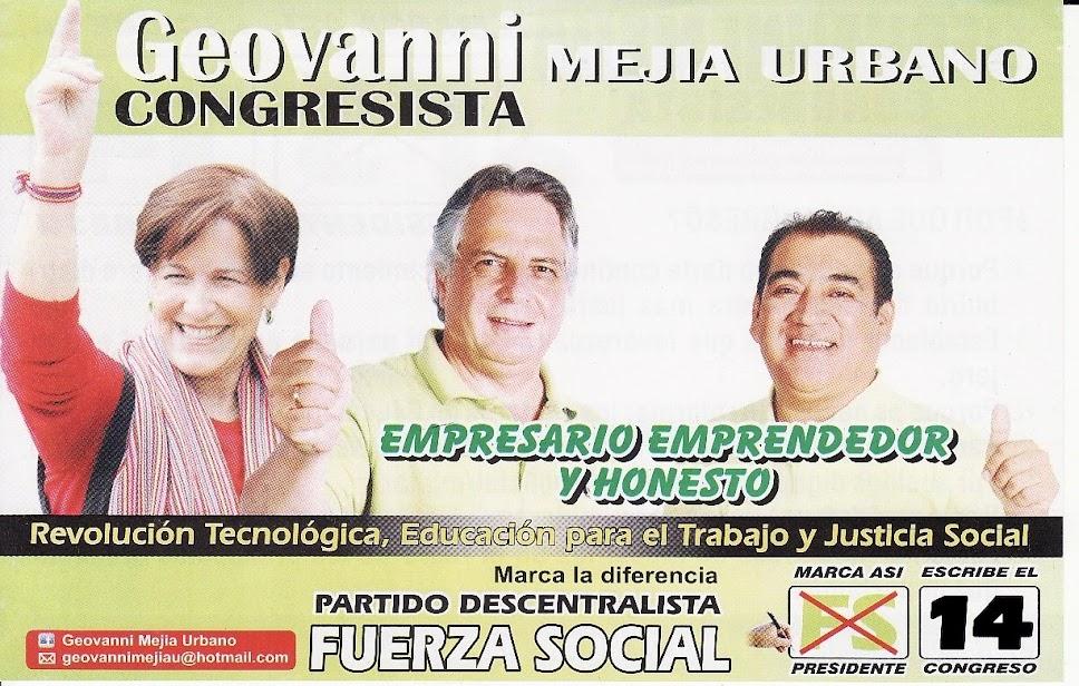 Geovanni Mejia al Congreso Nro. 14 Fuerza Social