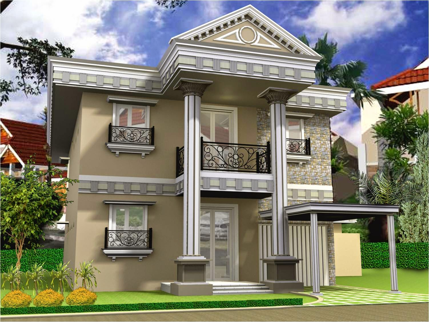 Luxury home design minimalist latest 2nd floor the for 2nd floor house front design