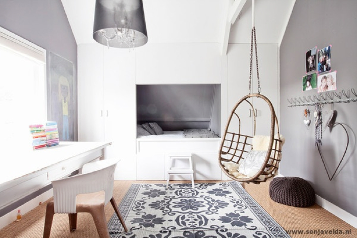 child room with grey and natural elements