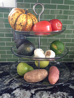 Fruit Displayed In Kitchen On Tiered Dessert Plates