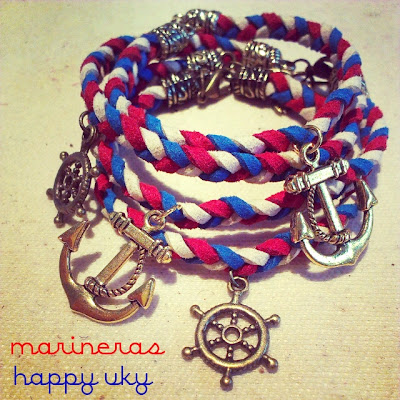 Happy Uky Pulseras trenzadas marineras charms