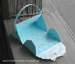 aufgeklappte Tasche aus Stampin Up Thinlit für Umschlag