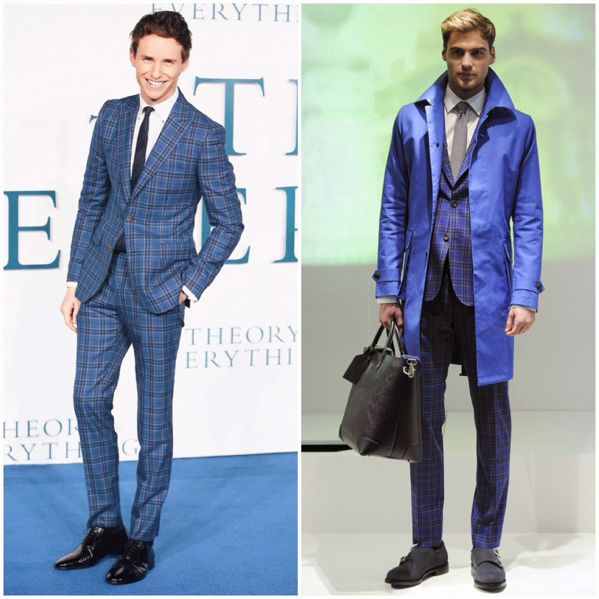 Eddie Redmayne wears Hardy Amies Fall Winter 2014 blue check suit to UK Premiere of The Theory Of Everything in London 9th December 2014