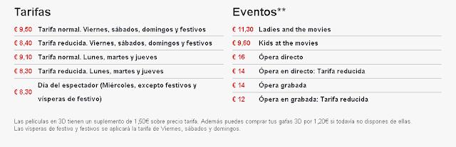 Las tarifas del Cine Kinepolis de Valencia