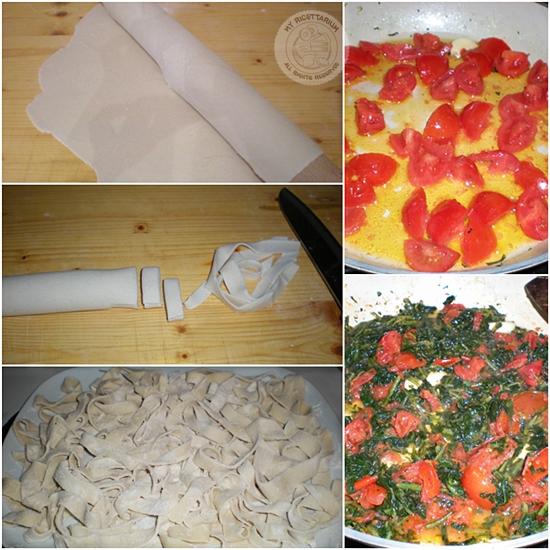 Tagliatelle con cicoria e pomodorini