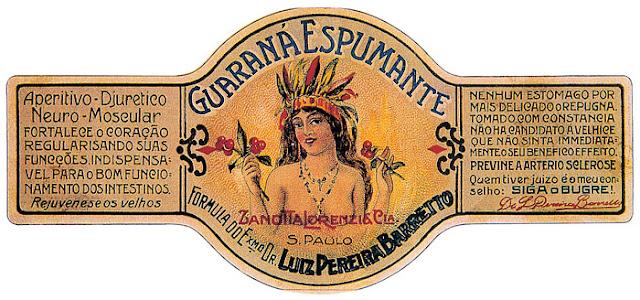 Rótulo do primeiro guaraná espumante, datado de 1920.