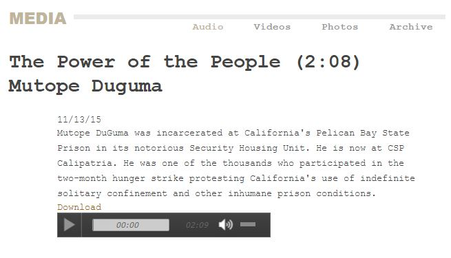 screenshot of Mutope Duguma's spoken words The Power of the People, on Prison Radio