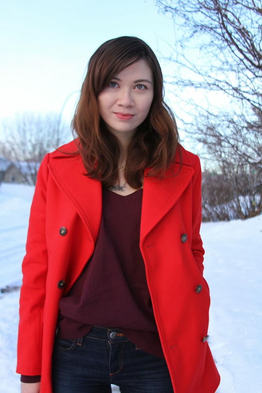 winter fashion, H&M, Joe's Jeans, red jacket, Club Monaco