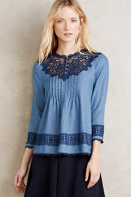 denim every day anthropologie laced chambray top holding horses on sale