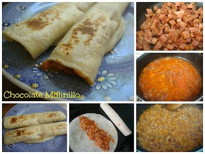Burritos de Chicharrón en salsa roja