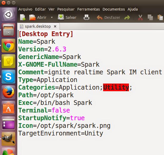 Configurando o atalho no menu para o Spark