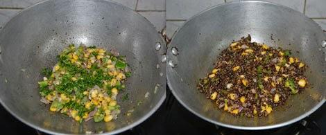 preparing the stuffing with quinoa