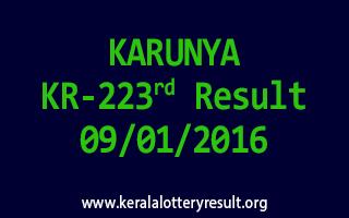 KARUNYA KR 223 Lottery Result 9-1-2016
