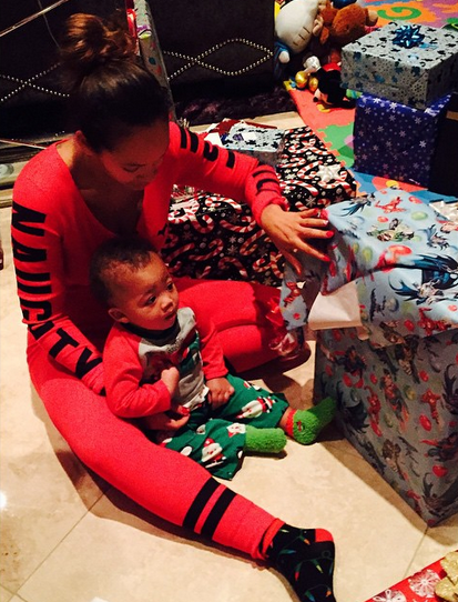 Evelyn Lozada and her son celebrating Christmas