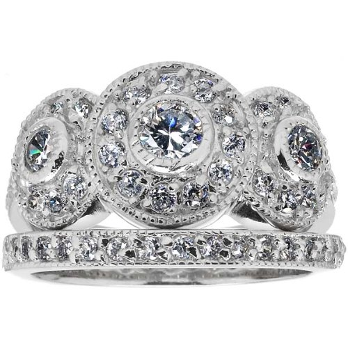 Design wedding rings engagement rings gallery fascinating for Vintage wedding rings sets