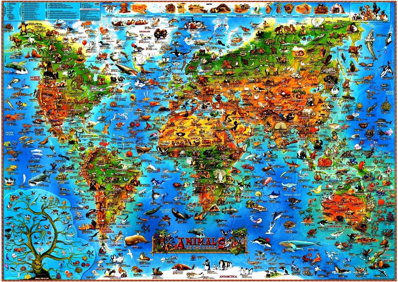 Mapa Mundi Desenhado Infantil Mundo Animal Educativo Ingls  R