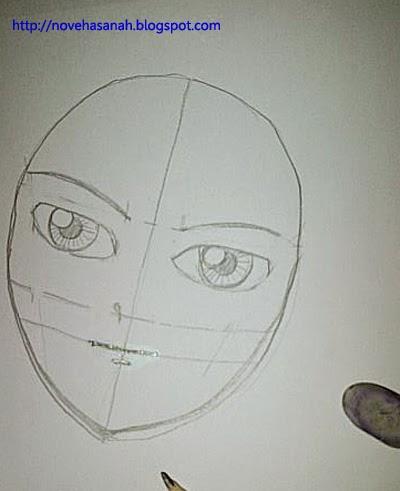 tambahkan garis untuk menggambar hidung dan bibir pada garis bantu yang telah dibuat sebelumnya